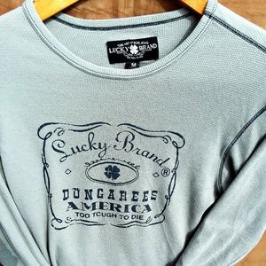Lucky Brand Graphic Long Sleeve Thermal Gray Sz M